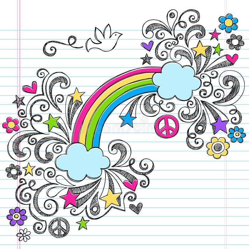 Διάνυσμα Doodles ειρήνης ουράνιων τόξων και περιστεριών απεικόνιση αποθεμάτων