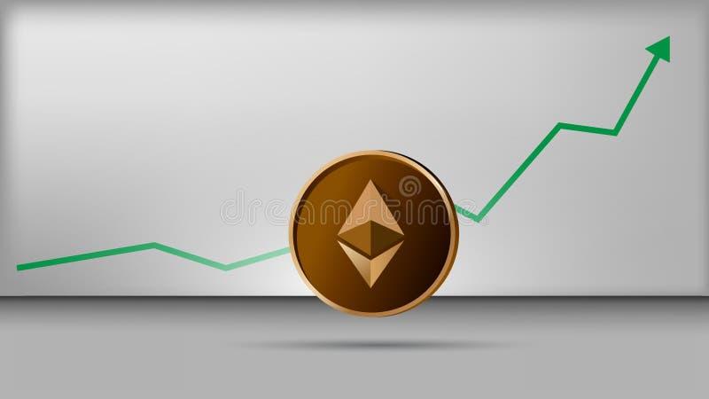 Διάνυσμα Illustพation του νομίσματος ethereum με τη γραφική παράσταση αύξησης στοκ εικόνα