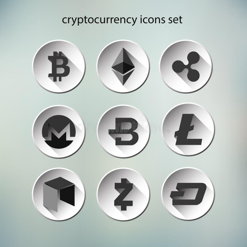 Διάνυσμα Illustation των εικονιδίων κουμπιών cryptocurrency καθορισμένων στοκ φωτογραφία με δικαίωμα ελεύθερης χρήσης