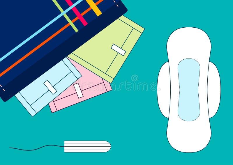 Διάνυσμα illustratoin tampons και των υγειονομικών μαλακών μαξιλαριών εμμηνόρροιας σε μια εξάρτηση Κρίσιμες ημέρες γυναικών, εμμη ελεύθερη απεικόνιση δικαιώματος