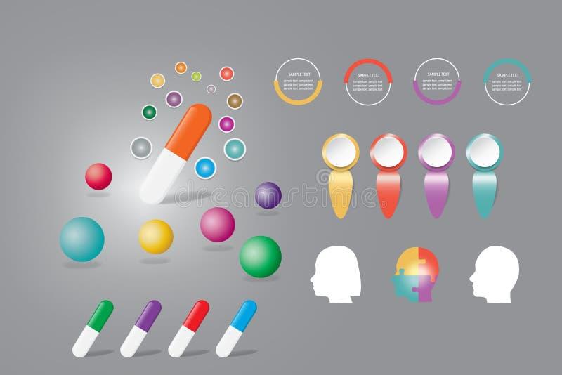 Διάνυσμα Infographic για τα φάρμακα ή τις βιταμίνες παρουσίασης απεικόνιση αποθεμάτων