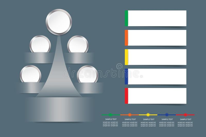 Διάνυσμα Infographic ως δέντρο μετάλλων με τους κενούς άσπρους κύκλους απεικόνιση αποθεμάτων