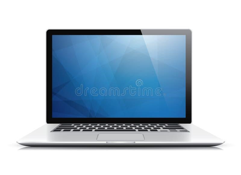 Διάνυσμα lap-top με την μπλε αφηρημένη ταπετσαρία απεικόνιση αποθεμάτων
