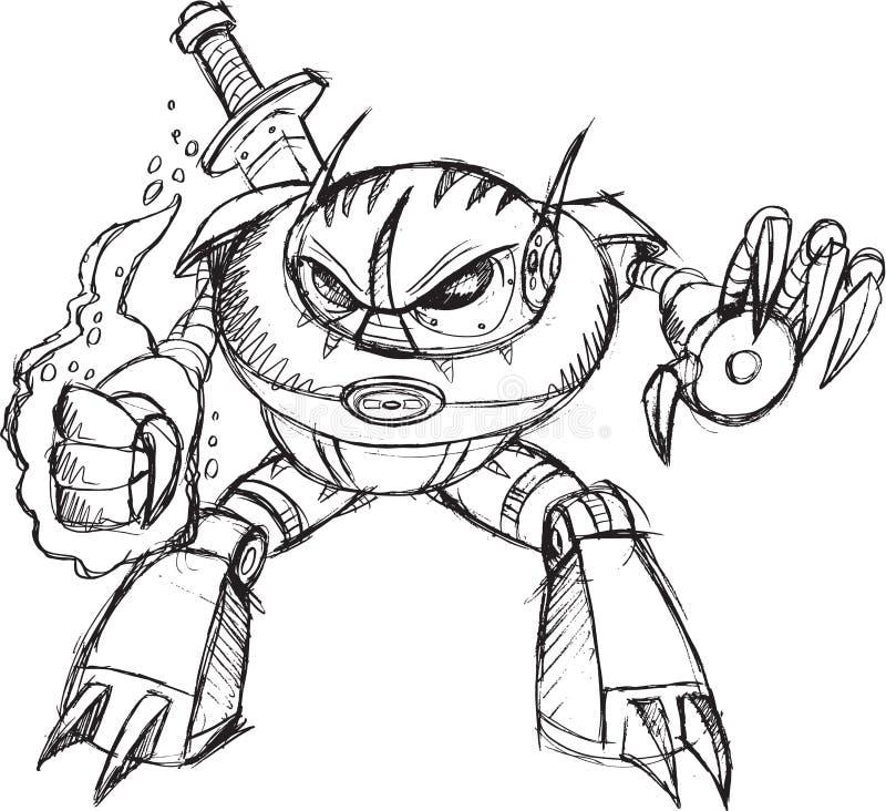 Διάνυσμα Ninja πολεμιστών Cyborg ρομπότ διανυσματική απεικόνιση