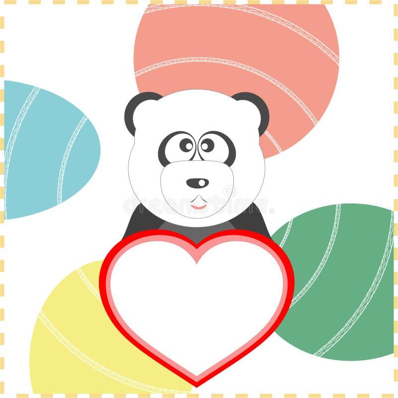διάνυσμα panda αγάπης καρδιών α απεικόνιση αποθεμάτων