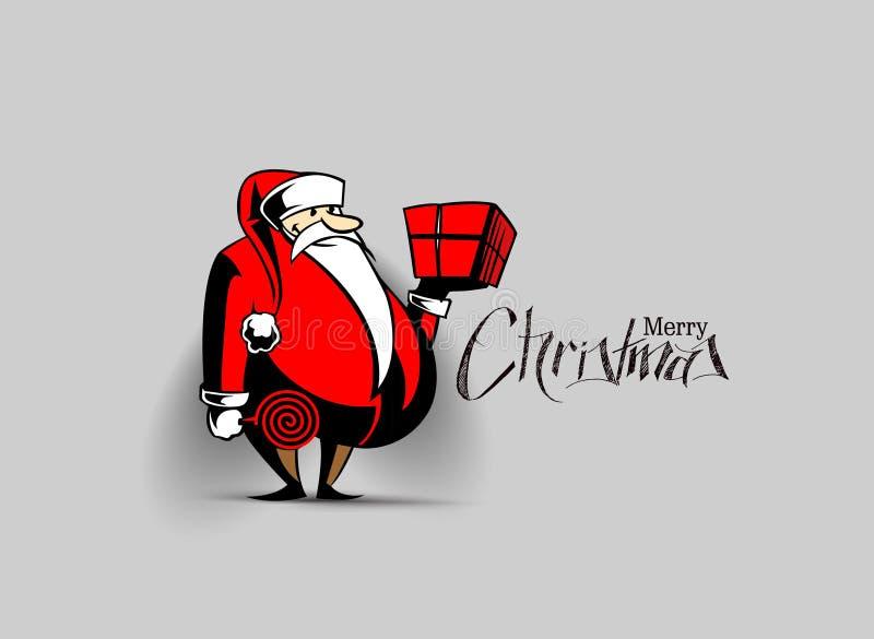 διάνυσμα santa απεικόνισης εκμετάλλευσης δώρων Claus κιβωτίων Χαρούμενα Χριστούγεννα - διάνυσμα illustr ελεύθερη απεικόνιση δικαιώματος