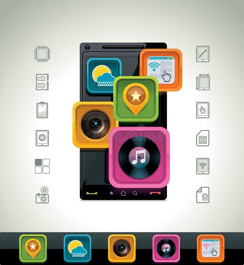 διάνυσμα smartphone εικονιδίων διανυσματική απεικόνιση