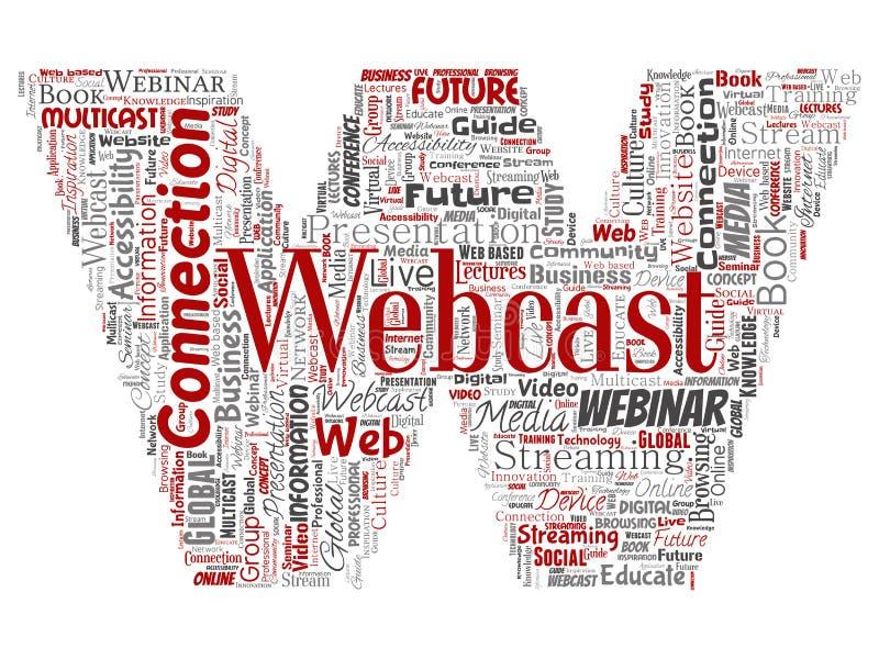 Διάνυσμα webcast ή webinar πηγή επιστολών διανυσματική απεικόνιση