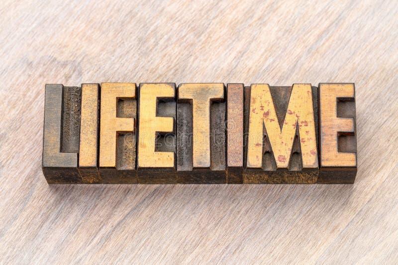 Διάρκεια ζωής - περίληψη λέξης στον ξύλινο τύπο στοκ εικόνα
