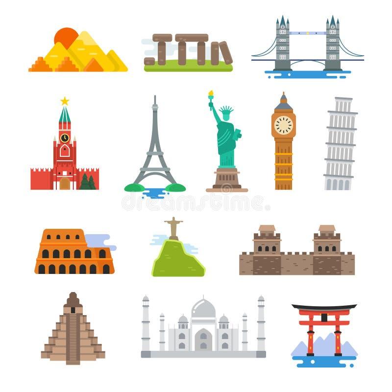 Διάσημα αρχιτεκτονικής εικονίδια ορόσημων παγκόσμιου ταξιδιού διανυσματικά ελεύθερη απεικόνιση δικαιώματος