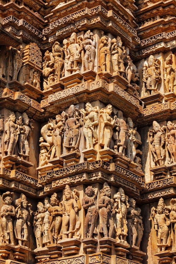 Διάσημα γλυπτά των ναών Khajuraho, Ινδία στοκ εικόνα