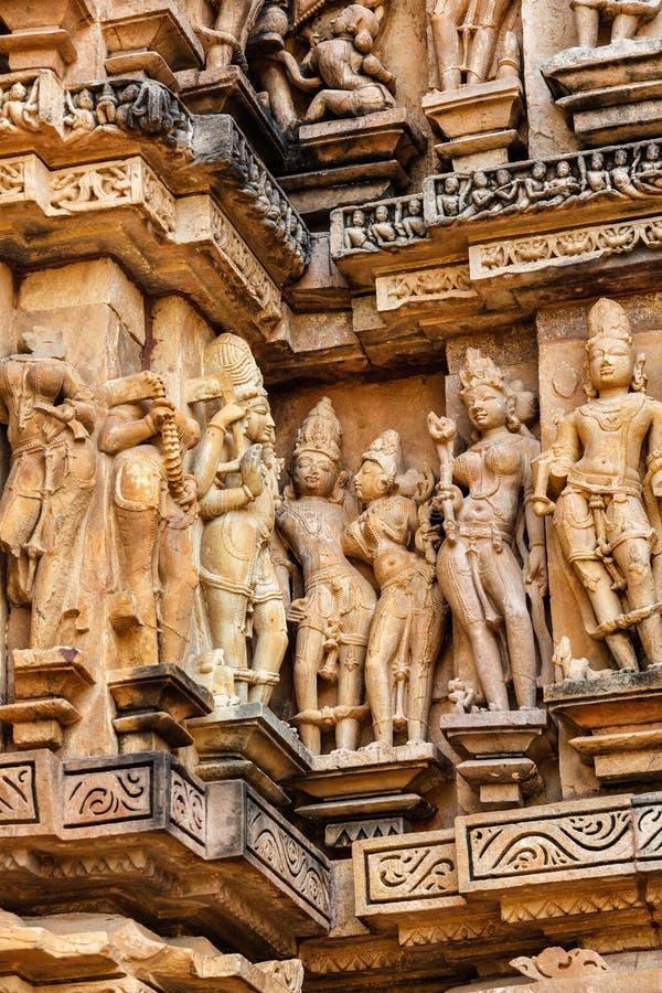 Διάσημα γλυπτά των ναών Khajuraho, Ινδία στοκ φωτογραφία με δικαίωμα ελεύθερης χρήσης