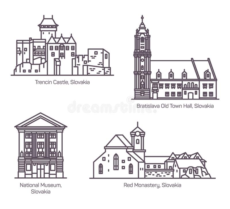 Διάσημα κτήρια αρχιτεκτονικής της Σλοβακίας στη γραμμή ελεύθερη απεικόνιση δικαιώματος