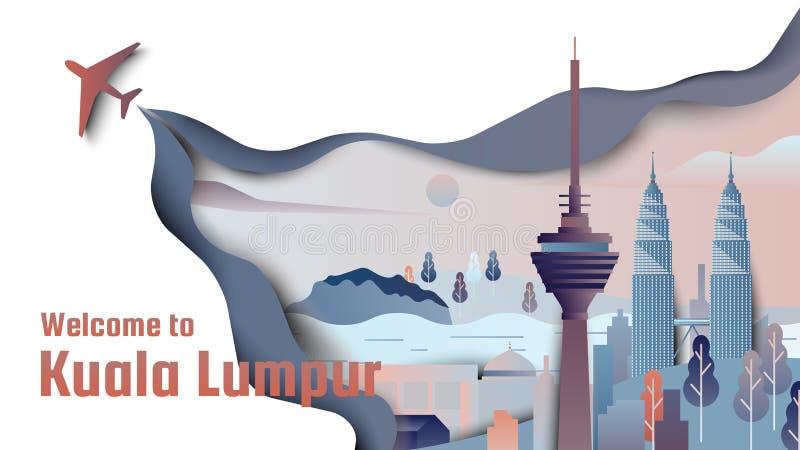 Διάσημα μέρη στη Κουάλα Λουμπούρ, τη Μαλαισία, τους μπλε και πορτοκαλιούς τόνους, περικοπή εγγράφου απεικόνιση αποθεμάτων