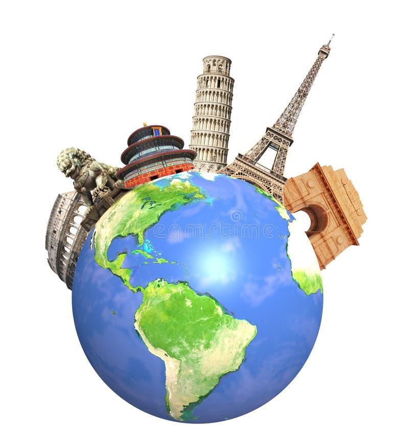 Διάσημα μνημεία παγκόσμιο να περιβάλει του πλανήτη Γη στοκ εικόνες με δικαίωμα ελεύθερης χρήσης