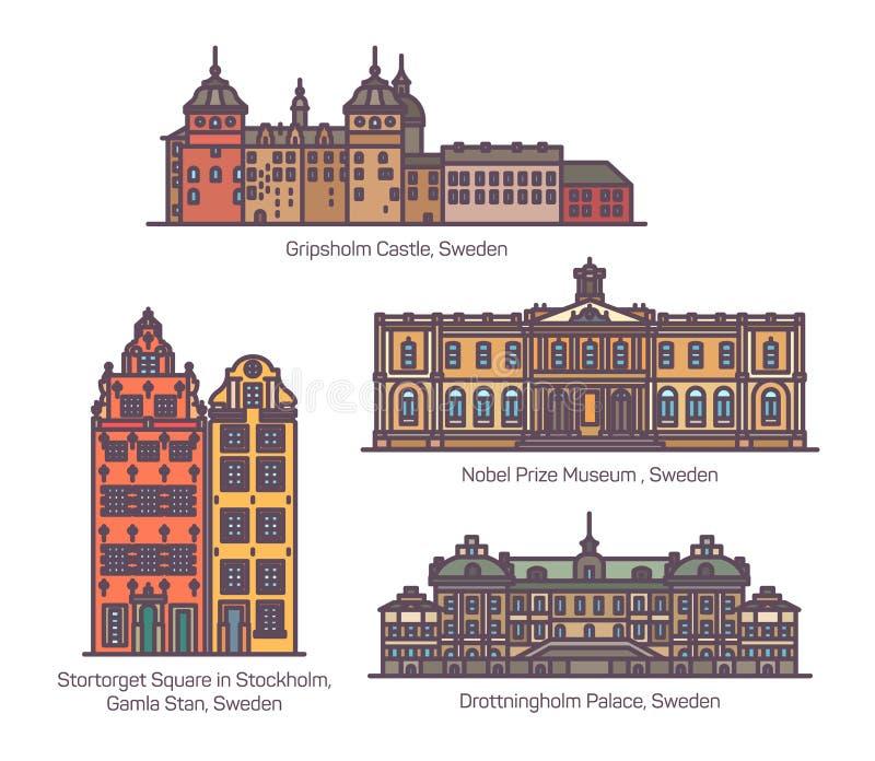 Διάσημα ορόσημα αρχιτεκτονικής της Σουηδίας στη λεπτή γραμμή απεικόνιση αποθεμάτων