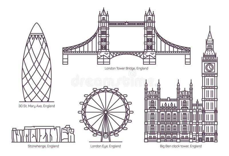 Διάσημα ορόσημα αρχιτεκτονικής του UK ή της Αγγλίας καθορισμένα ελεύθερη απεικόνιση δικαιώματος