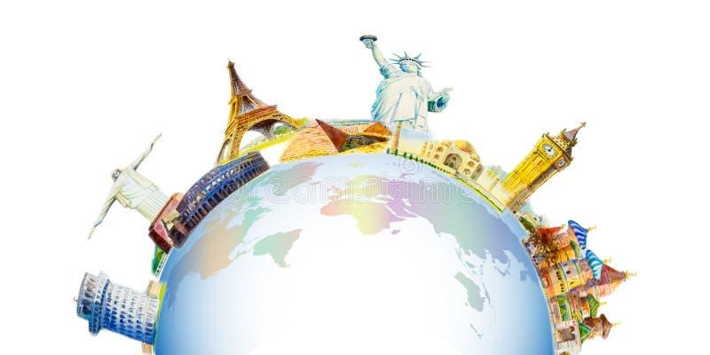 Διάσημα ορόσημα του κόσμου διανυσματική απεικόνιση