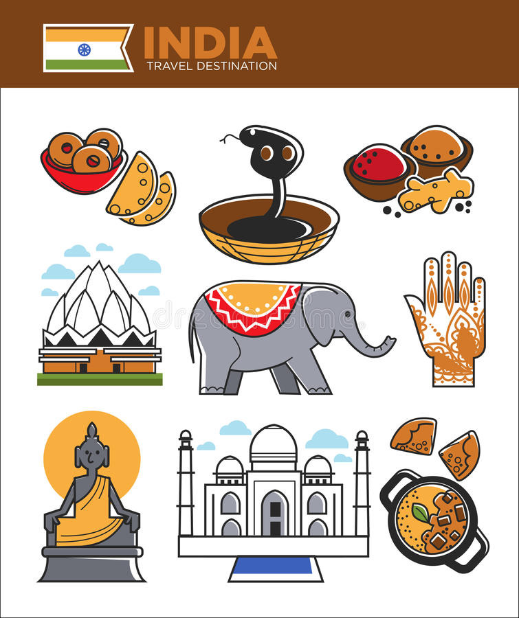 Διάσημα σύμβολα ορόσημων ταξιδιού τουρισμού της Ινδίας και ινδικά διανυσματικά τουριστικά αξιοθέατα πολιτισμού ελεύθερη απεικόνιση δικαιώματος