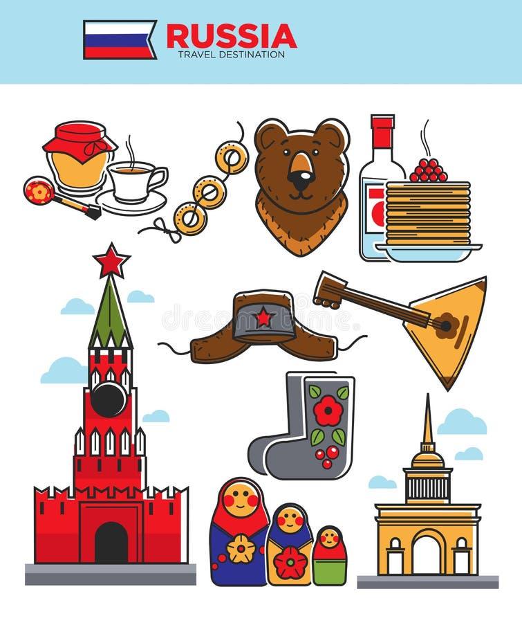 Διάσημα σύμβολα τουριστών ταξιδιού της Ρωσίας ή διανυσματικά εικονίδια έλξης τουρισμού της Σοβιετικής Ένωσης διανυσματική απεικόνιση