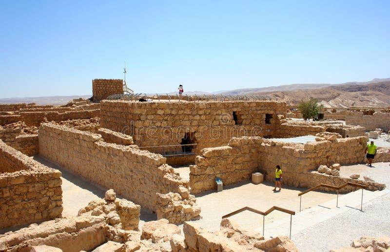 Διάσημες καταστροφές του αρχαίου φρουρίου Masada Εθνικό πάρκο Masada στην έρημο Judean, Ισραήλ στοκ φωτογραφίες με δικαίωμα ελεύθερης χρήσης