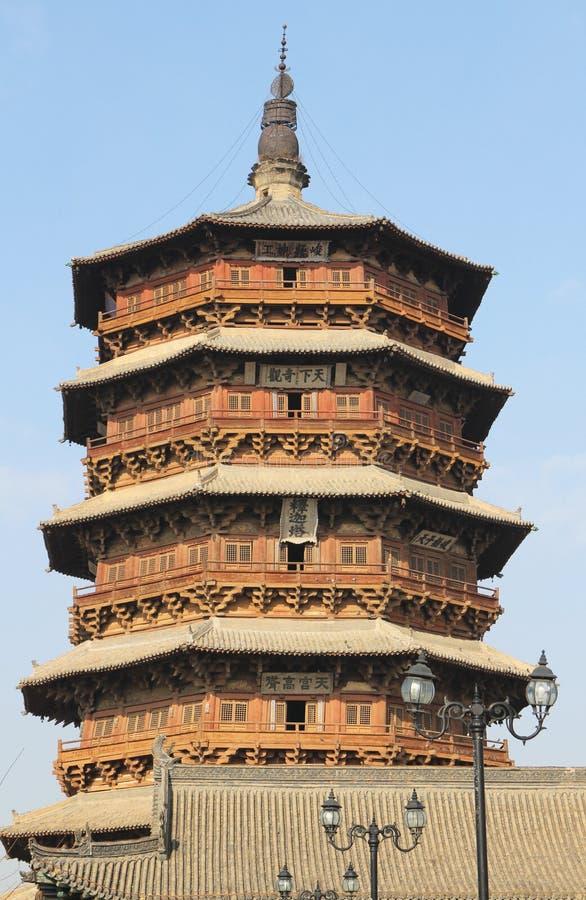 Διάσημη αρχαία κινεζική αρχιτεκτονική, ξύλινη παγόδα σε yingxian, shanxi στοκ εικόνες