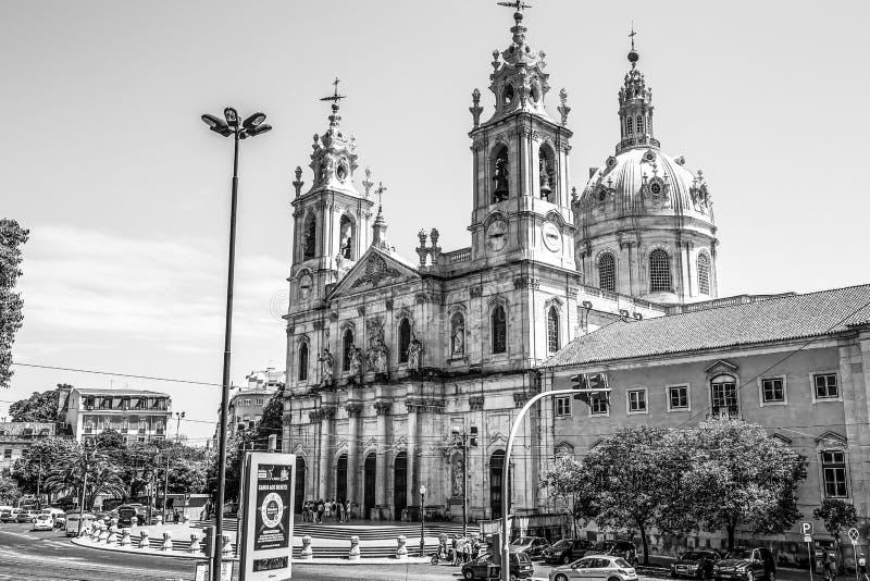 Διάσημη βασιλική Estrela στη Λισσαβώνα - τη ΛΙΣΣΑΒΩΝΑ/την ΠΟΡΤΟΓΑΛΙΑ - 14 Ιουνίου 2017 στοκ φωτογραφίες