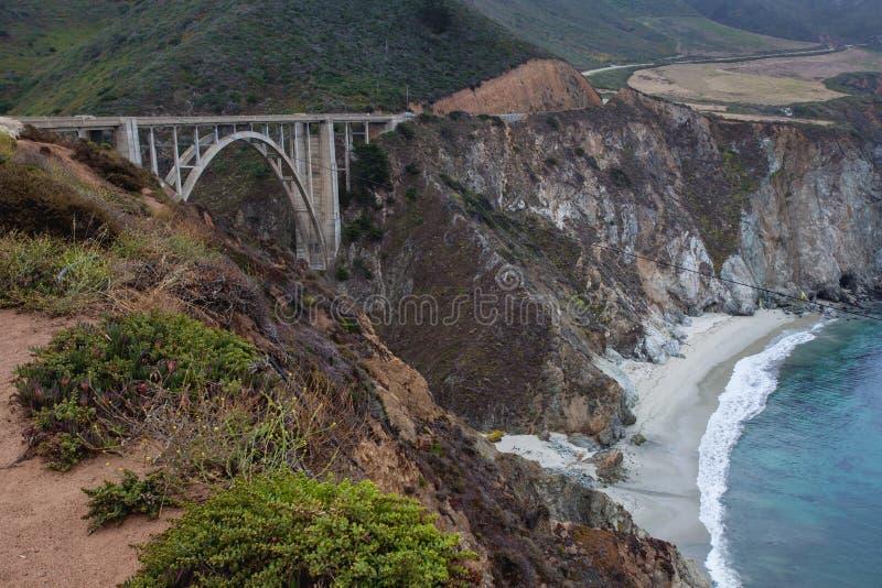 Διάσημη γέφυρα Bixby κατά μήκος της μεγάλης ακτής Sur σε Καλιφόρνια, ΗΠΑ στοκ εικόνα