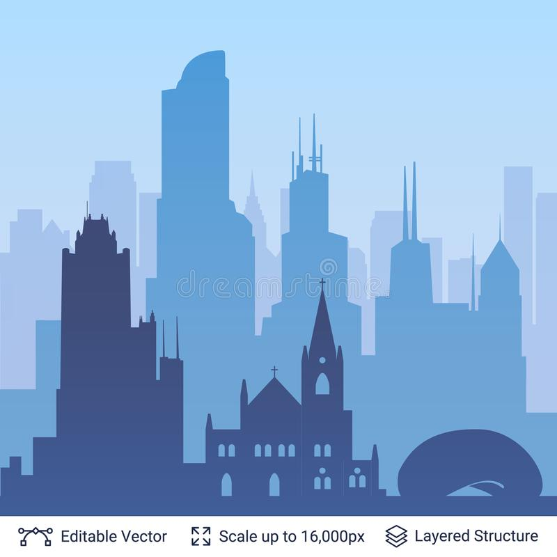Διάσημη πόλη του Σικάγου scape διανυσματική απεικόνιση