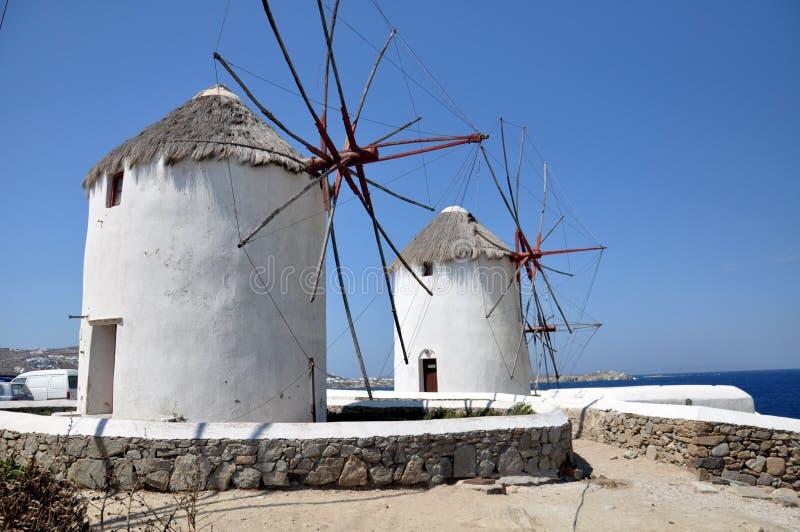 Διάσημοι ανεμόμυλοι στη Μύκονο Ελλάδα στοκ εικόνα με δικαίωμα ελεύθερης χρήσης