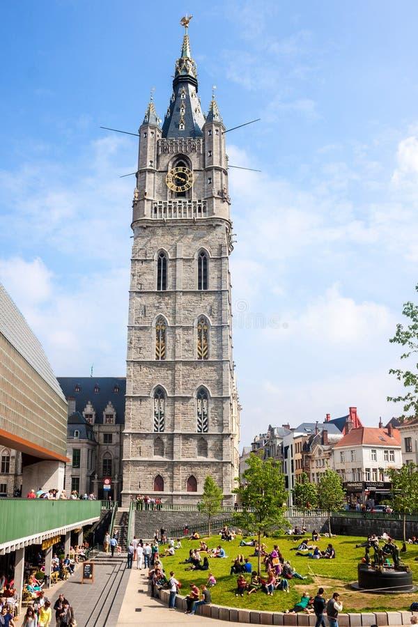 Διάσημος πύργος καμπαναριών σε Gent στοκ φωτογραφίες