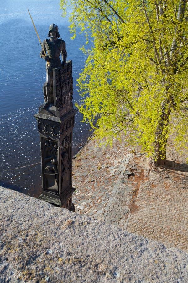 Διάσημο άγαλμα του ιππότη Bruncvik κοντά στη γέφυρα του Charles στοκ φωτογραφία