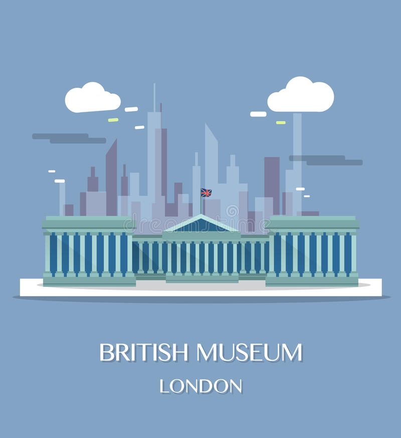Διάσημο βρετανικό μουσείο ορόσημων του Λονδίνου διανυσματική απεικόνιση
