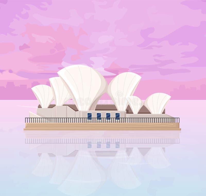 Διάσημο ορόσημο αρχιτεκτονικής της Αυστραλίας στις διανυσματικές κάρτες ηλιοβασιλέματος απεικόνιση αποθεμάτων
