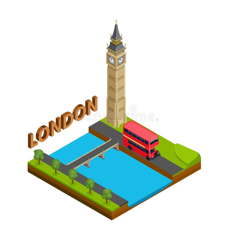 Διάσημο ορόσημο πόλεων του Λονδίνου της κύριας επιχειρησιακής έννοιας ταξιδιού της Μεγάλης Βρετανίας συμβόλων της Αγγλίας Isometr απεικόνιση αποθεμάτων