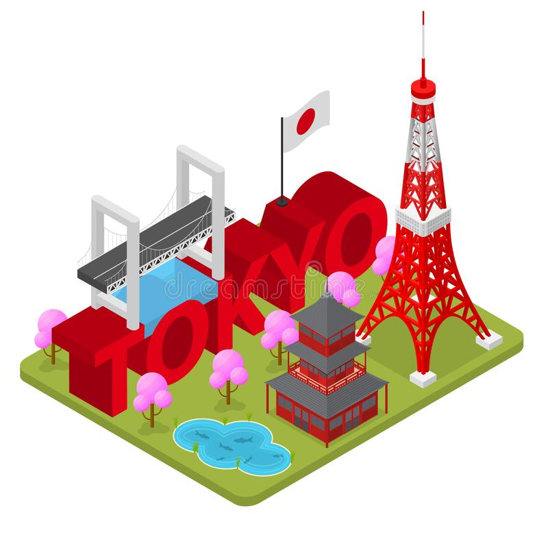 Διάσημο ορόσημο πόλεων Tokio της κύριας Isometric άποψης της Ιαπωνίας διάνυσμα ελεύθερη απεικόνιση δικαιώματος