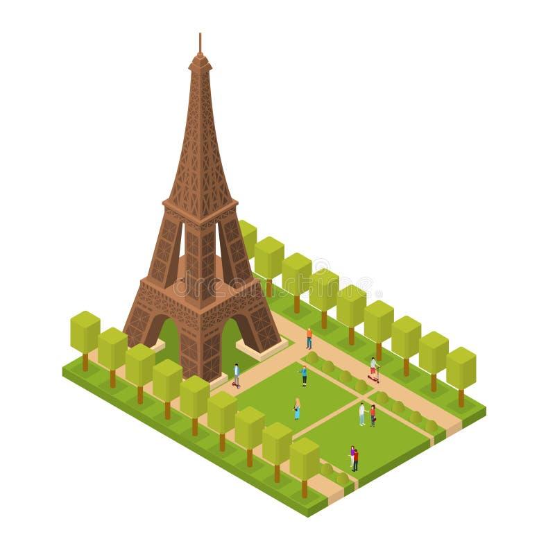 Διάσημο ορόσημο πύργων του Άιφελ της Isometric άποψης του Παρισιού διάνυσμα διανυσματική απεικόνιση