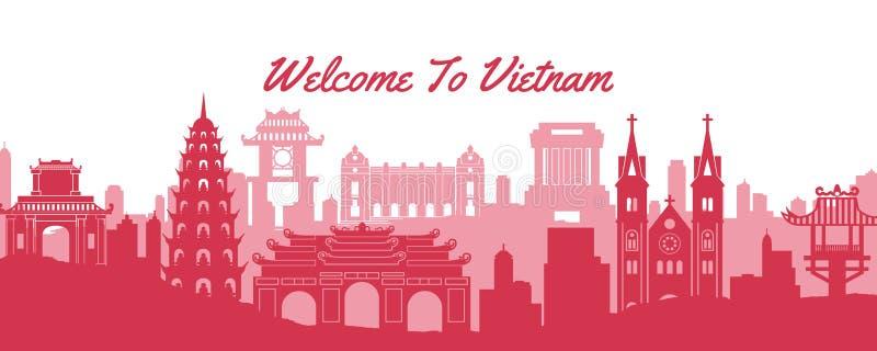 Διάσημο ορόσημο του Βιετνάμ, ταξιδιωτικός προορισμός με σιλουέτα κλασικού σχεδίου απεικόνιση αποθεμάτων