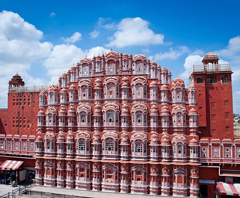 Διάσημο ορόσημο του Rajasthan - παλάτι Hawa Mahal στοκ φωτογραφία με δικαίωμα ελεύθερης χρήσης