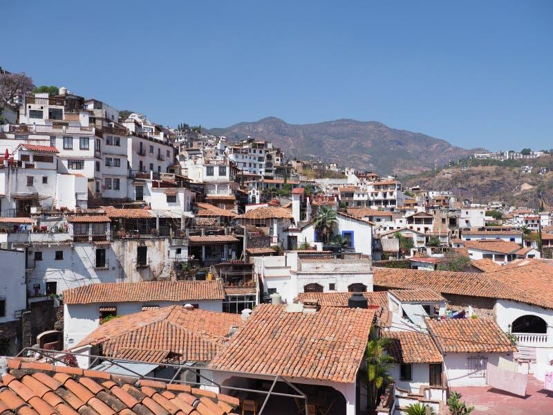 Διάσημο τοπίο εικονικής παράστασης πόλης της ιστορικής Taxco de Alarcon πόλης στην κατάσταση Guerrero στο Μεξικό στοκ φωτογραφίες