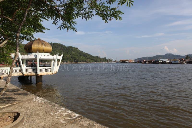 Διάσημο χωριό νερού στο Μπρουνέι Μπόρνεο στοκ εικόνα