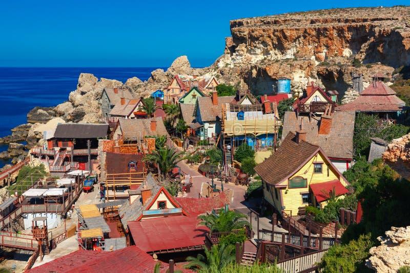 Διάσημο χωριό Popeye στον κόλπο αγκύρων, Μάλτα στοκ φωτογραφία με δικαίωμα ελεύθερης χρήσης