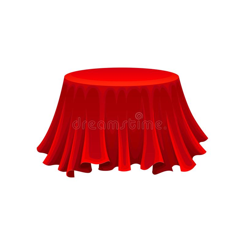 Διάσκεψη στρογγυλής τραπέζης κάτω από το κόκκινο ύφασμα μεταξιού έννοια μυστηρίου ελεύθερη απεικόνιση δικαιώματος