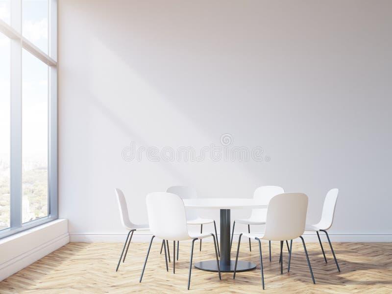 Διάσκεψη στρογγυλής τραπέζης στη αίθουσα συνδιαλέξεων διανυσματική απεικόνιση