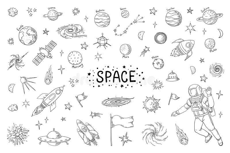 Διάστημα Doodle Καθιερώνον τη μόδα σχέδιο κόσμου, στοιχεία αστρονομίας κομητών πυραύλων μετεωριτών αστροναυτών αστεριών Διανυσματ ελεύθερη απεικόνιση δικαιώματος