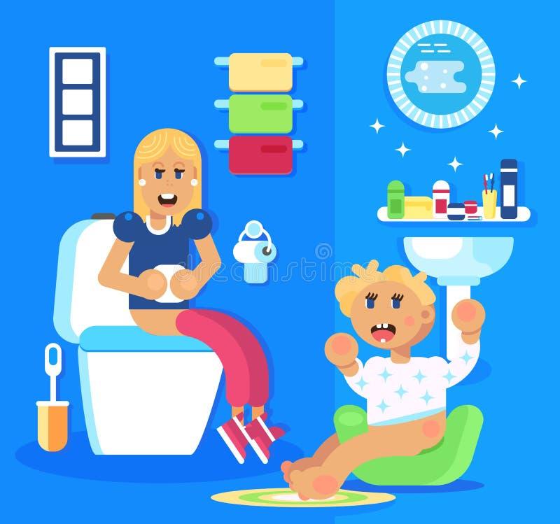 Διάταξη θέσεων νέων κοριτσιών και μωρών στο δοχείο νύχτας παιδιών απεικόνιση αποθεμάτων