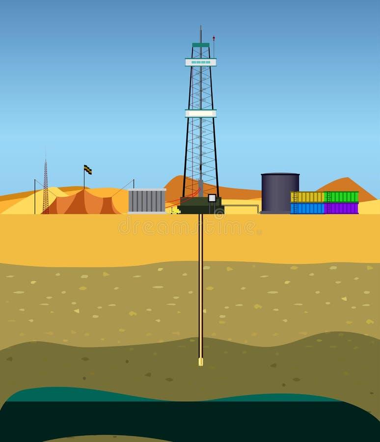 Διάτρυση μιας πετρελαιοπηγής (Μέση Ανατολή) διανυσματική απεικόνιση