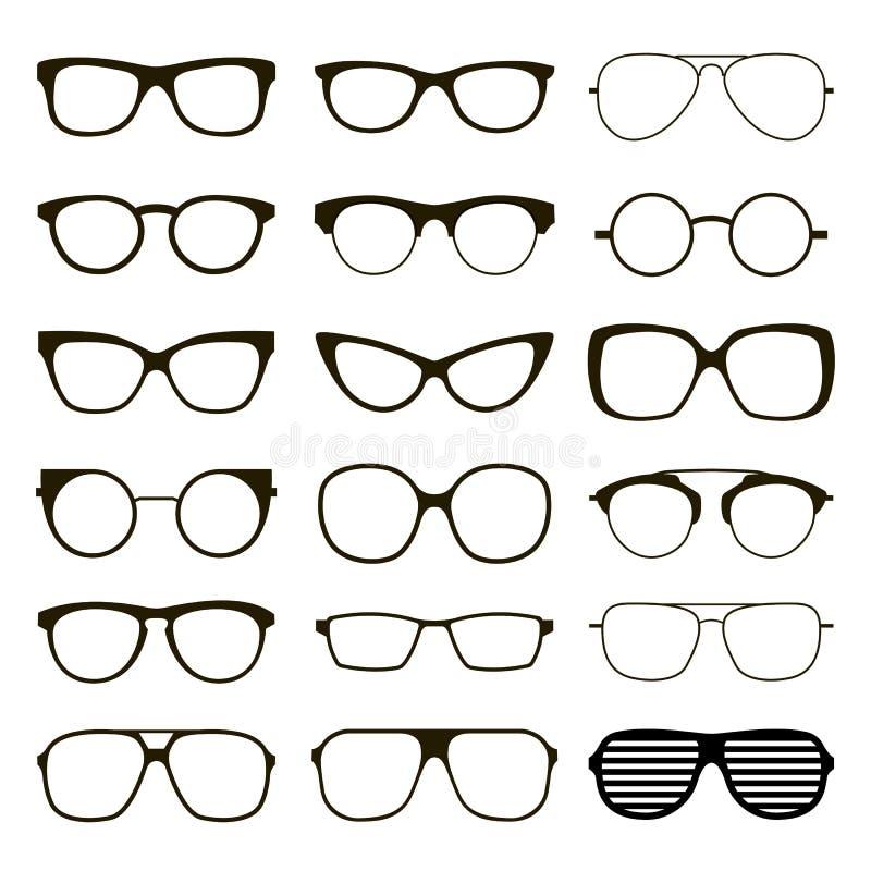 Διάφορα γυαλιά συνήθειας διανυσματική απεικόνιση