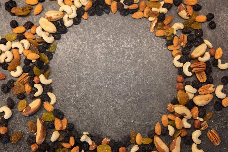 Σχέδιο των καρυδιών με μορφή κύκλων Διάφορα καρύδια που απομονώνονται στο σκοτεινό υπόβαθρο Πεκάν, macadamia, καρύδι της Βραζιλία στοκ φωτογραφίες