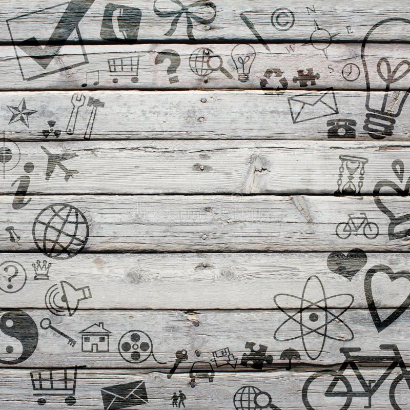 Διάφορα κοινωνικά εικονίδια στην παλαιά ξύλινη επιφάνεια στοκ εικόνες με δικαίωμα ελεύθερης χρήσης
